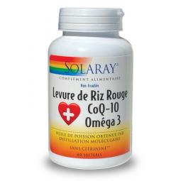 Levure De Riz Rouge + CoQ10 + Oméga 3 60 Softgels SOLARAY