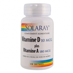 Vitamine D + Vitamine A 120 Softgels SOLARAY