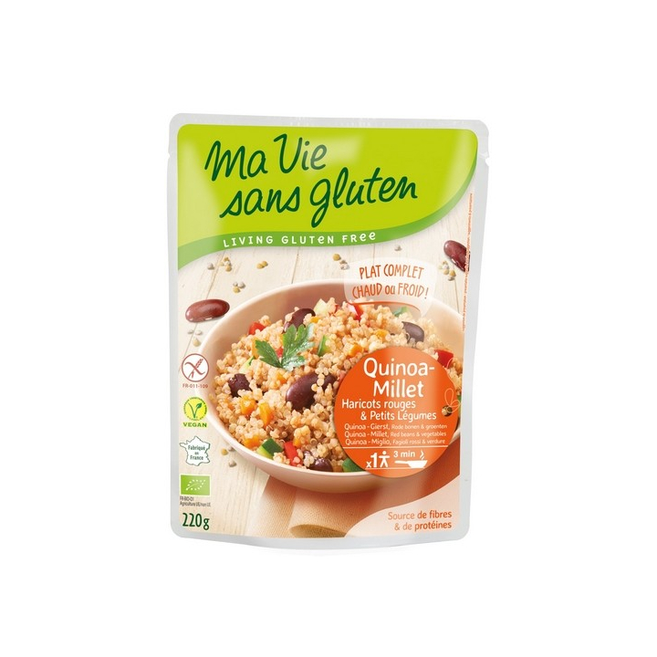 Plat Cuisiné Quinoa-Millet Haricots Rouges Et Petits Légumes Bio 220g MA VIE SANS GLUTEN