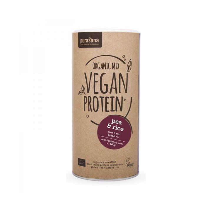 Protéine De Petits Pois - Riz & Fruits des Bois - Açai Bio 400g PURASANA