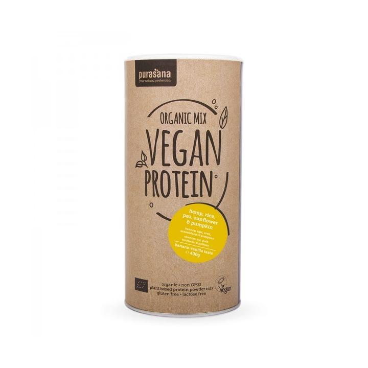 Protéine De Petits Pois Riz Graines de Potiron Tournesol Chanvre Goût Banane Vanille Bio 400g PURASANA