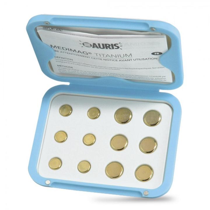 Aimants Thérapeutiques Medimag® Titanium Ø 11 et 15mm AURIS boite ouverte