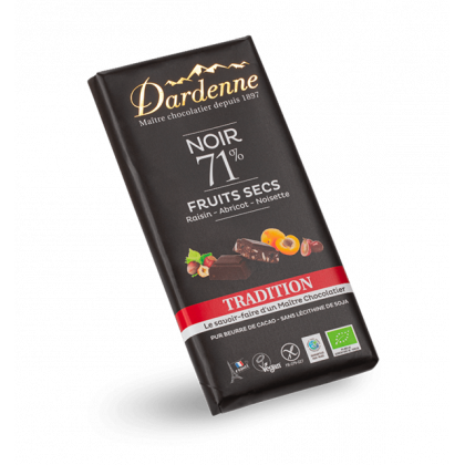 Chocolat noir 71% fruits secs - 180g