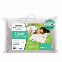 Oreiller cervical en latex naturel - 60 x 40 cm - Packaging - Biorelax