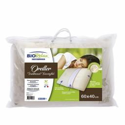 Oreiller traditionnel viscovégétal - 60 x 40 cm - Packaging - Biorelax