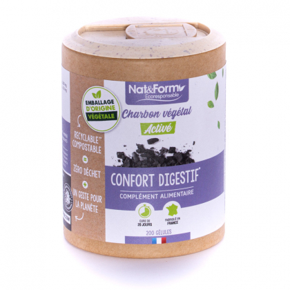 Charbon végétal activé - Confort digestif - 200 gélules végétales Nat&Form