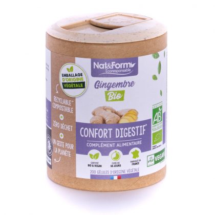 Gingembre bio - Confort digestif - 200 gélules Nat&Form