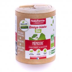 Ginkgo biloba bio - Mémoire - 200 gélules végétales Nat&Form