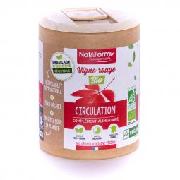 Vigne rouge bio - Circulation - 200 gélules végétales Nat&Form