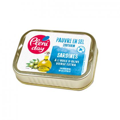 Sardines à l'huile olive pauvre en sel - 115g