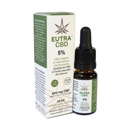 Eutra CBD - Gouttes de CBD bio à l'huile de chanvre 5% - 10mL Interlac