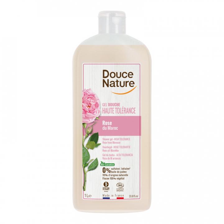 Gel douche haute tolérance hypoallergénique à la rose de Damas - 1L Douce Nature