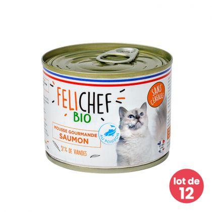 Lot de 12 Mousses gourmandes pour chat au saumon - 12 x 200g