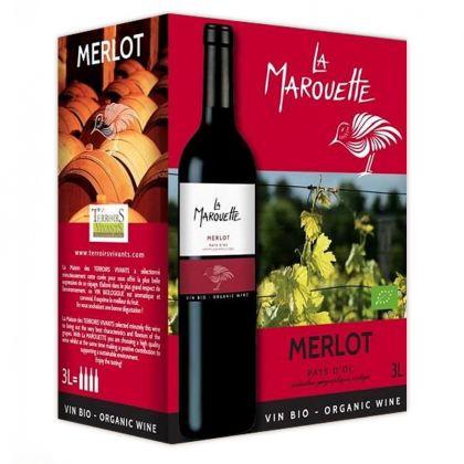 La Marouette Prestige - Merlot rouge bio et IGP - 3L